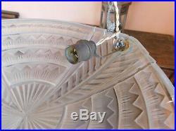 Lustre vasque signé NOVERDY Art Déco monture laiton argenté