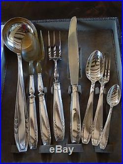 MENAGERE 37 pièces + 4 COUVERTS SERVICE métal argenté orfèvrerie APOLLO Art Déco