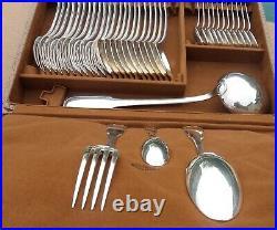 MENAGERE SAGLIER FRERES Art déco, métal argenté, modèle filet contour, 37 pièces