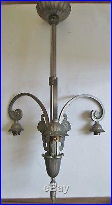 MONTURE Lustre GILLES Lampe Art Déco bronze nickelé 1925 pour tulipes Era Muller