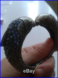 Magnifique Bracelet Art Deco Poissons Grenat Pierre De Lune Argent 925! Rare