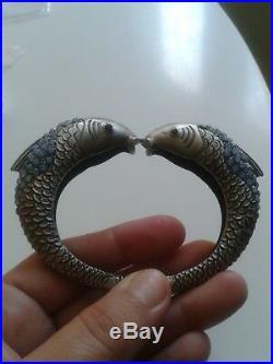 Magnifique Bracelet Art Deco Poissons Grenat Pierre De Lune Argent! Rare