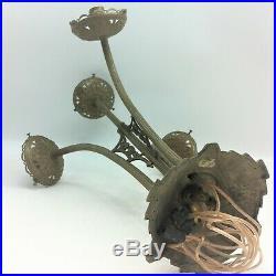 Magnifique Monture De Lustre Art Deco Bronze Argente Decor Floral
