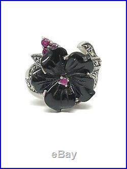 Magnifique bague en argent look art déco, onyx, rubis et marcassites