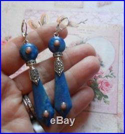 Magnifiques boucles dormeuses anciennes Art Deco argent lapis lazuli corail
