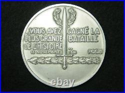 Medaille Art Deco Argent P. Turin Victoire 1918 Foch Ww1 Silver Art Deco