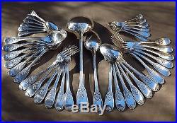 Menagere En Coffret 38 Pieces En Metal Argente Decor Neo Gothique Vers 1930