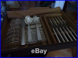 Menagere argent art deco 115 pieces avec sa caisse 3 tiroirs
