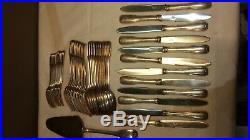 Ménagère, couteaux, fourchettes en métal argenté orfèvre Frionnet Art-déco 1930