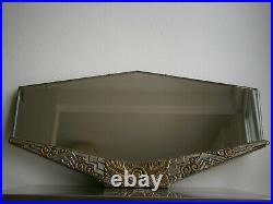 Miroir Art Deco Bois Sculpte Dore Argente Motif Stylise 1930 Verre Biseaute