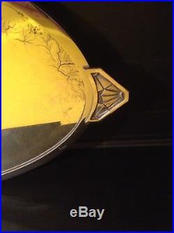 Miroir SIGNÉ Bronze Chromé Argenté Époque Art Deco 1925