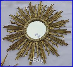 Miroir soleil, bois doré et argenté 84