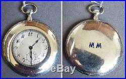 Montre à gousset extra plate ART DECO en argent massif vers 1920 watch