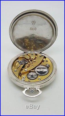 Montre gousset ARGENT UNIC Art Déco Émaillée aiguille BREGUET pocket watch 43mm