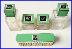 Nécessaire de toilette ARGENT + verre ART DECO vers 1925 flacon à parfum flacons