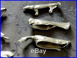 O. Gallia Art Deco 11 Porte Couteaux Animalier Metal Argente