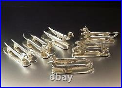 Orfevrerie Liberty 12 Porte Couteaux Animaliers Art Deco Metal Argente Vers 1950