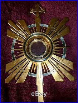 Ostensoir Complet Art Deco +lunule Argent/boite/laiton Dore/m. Cheret/messe/autel