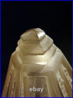 P. Maynadier Et Muller Lampe Art Déco Bronze Nickelé & Obus En Verre Pressé 1930