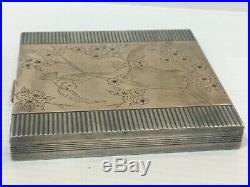 POUDRIER ART DECO 1940 ARGENT VERMEIL RUBIS 140 Gr
