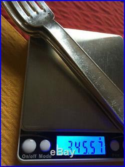 PUIFORCATJEAN, modèle NORMANDIE, 4 fourchettes argent massif ART DECO 345 gr