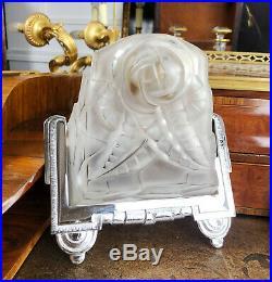 Paire D'appliques Luminaires D'époque Art Déco En Bronze Argenté Et Verre Dépoli