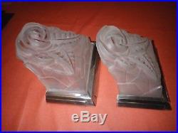 Paire appliques ART Déco bronze argenté Degué numéro 726 style muller sabino