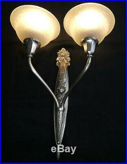 Paire dappliques lampe Art Déco bronze argenté tulipes Charles Schneider