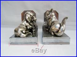 Paire de Serre Livres BENJAMIN RABIER 1864-1939 chien & Chat écoutant la T. S. F