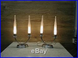 Paire de lampes candélabres Art Déco moderniste chromées avec leurs flammes