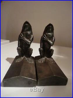 Paire de serres livres art deco en bronze signés leo victor gardey