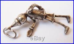 Pendentif ancien en argent massif PINOCCHIO figurine statuette silver pendant