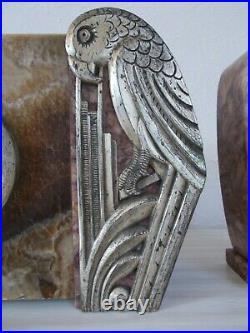 Pendule art deco marbre ornement en bronze argenté perroquet sculpture oiseau