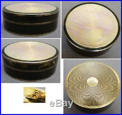 Petite boite ronde en ARGENT massif vermeil + émail Vers 1920 Art Deco silver