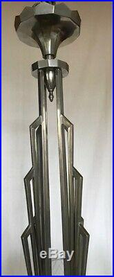 Petitot Grand Lustre En Bronze Argente Et Verre Moule Presse Art Deco 1930