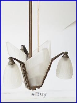 Plafonnier Lustre Les Hanots 1920 1930 Art Deco Bronze Nickele Verre Presse 20s