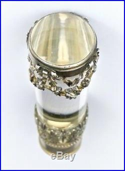 Pommeau de Canne, tampon cachet en verre ou cristal et argent à Fleurs