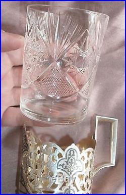 Porte verre russe argent massif niellé & verre à thé cristal taillé Soviet