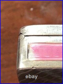 Poudrier Art Deco Argent Email Rose Bleu Enamel Color Pink Blue Sterling Box