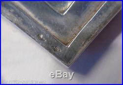 Poudrier Art Deco Argent Vermeil Rubis Décor aux 4 moineaux branchés 157 gr