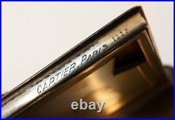 Poudrier CARTIER Paris v 1925 ART DECO argent + laque + émeraude powder box