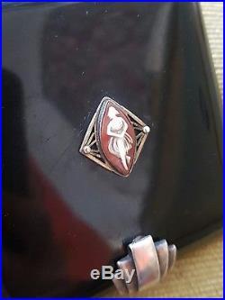 Poudrier Lancel Art Déco fermoir argent laque de chine ornée d'un camée V338