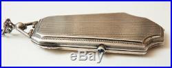 Poudrier minaudière en argent massif silver box Ancien vers 1920 105gr