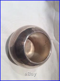 Puiforcat Art Deco Vase Boule Pétanque Metal Argente Design