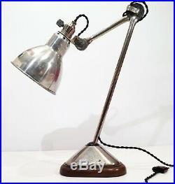 RARE Lampe GRAS RAVEL 206 Nickelée Art Deco Bauhaus Table Lamp Le Corbusier 1930
