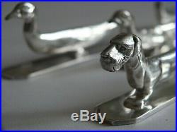 RARE coffret 12 porte couteaux, Bronze Ciselé Argenté (Sandoz.), bel état