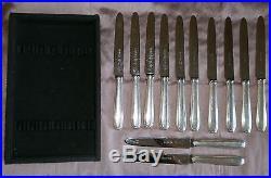 RENEKA 12 Couteaux métal argenté & lames Inox à filets contour style art déco