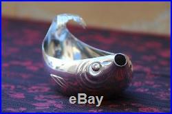Rare Art deco Métal argenté Gallia Saucière poisson Fish Sauce boat # 6093
