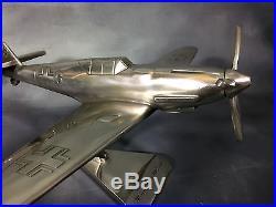 Rare Avion De Combat Allemand Mosserschmitt Me 109 En Alu Sur Socle/ Annee 60