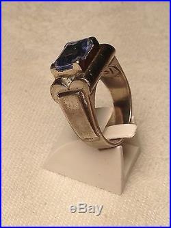 Rare! Belle Bague Art Deco Argent Et Quartz Bleu